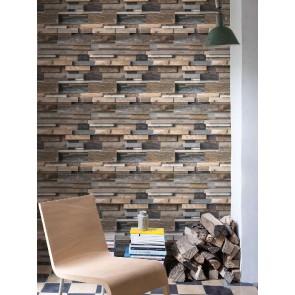 Ταπετσαρία Τοίχου 3D Ξύλο - Grandeco, Façade - Decotek fc3001
