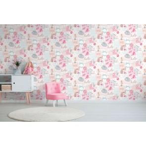 Ταπετσαρία Τοίχου Ρόζ Πίνακας - Grandeco, Little Ones - Decotek lo2401